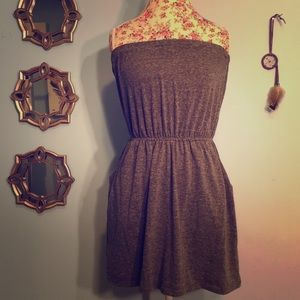 Gray Strapless Dress with Pockets